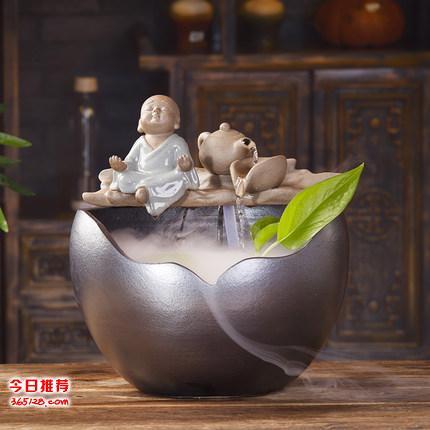 客厅家居风水轮招财喷泉 景德镇厂家定制批发陶瓷鱼缸喷泉