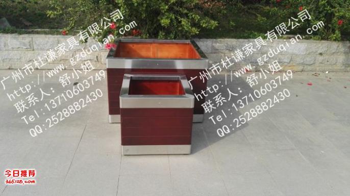 从化户外不锈钢树箱,304上下包边钢木花箱,防腐木花坛