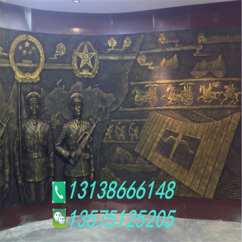 部队仿铜背景墙雕塑生产厂家革命题材铜浮雕玻璃钢军人形象和