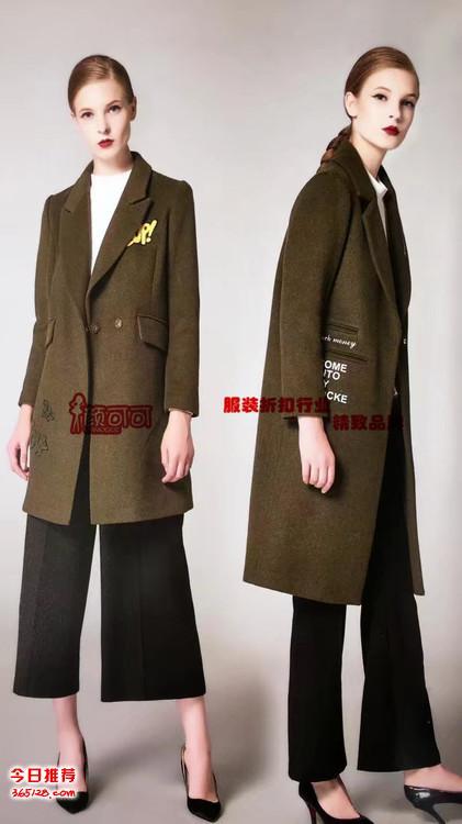 精品优质羽绒呢大衣货源供应,武汉颜可可品牌服饰折扣批发