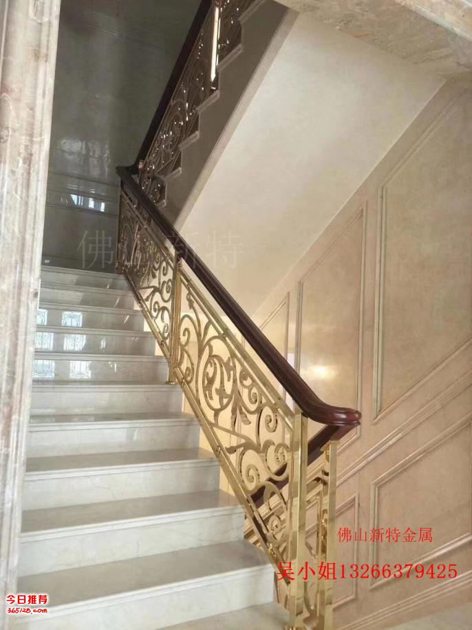 象山铜艺雕刻楼梯扶手 纯铜组装室内栏杆新材质图片
