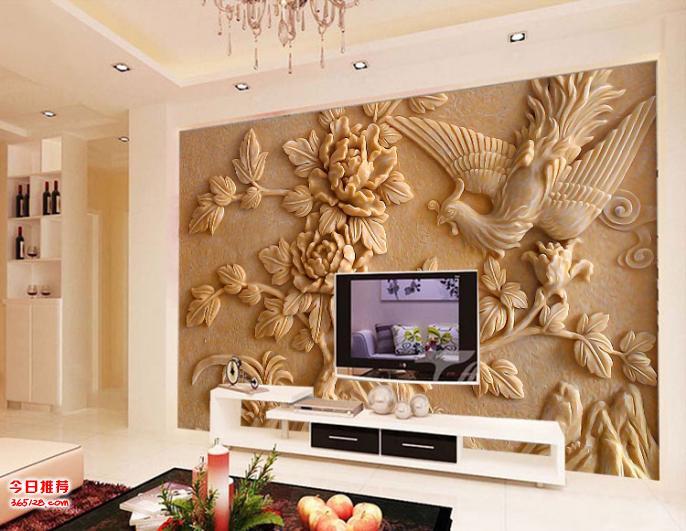 无缝墙布 墙纸 壁画 沙发电视背景墙 3d花开富贵 厂家