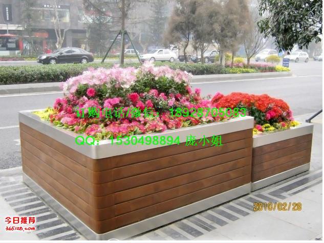 不锈钢景观花箱室外不锈钢包边花箱木质景点摆放花池
