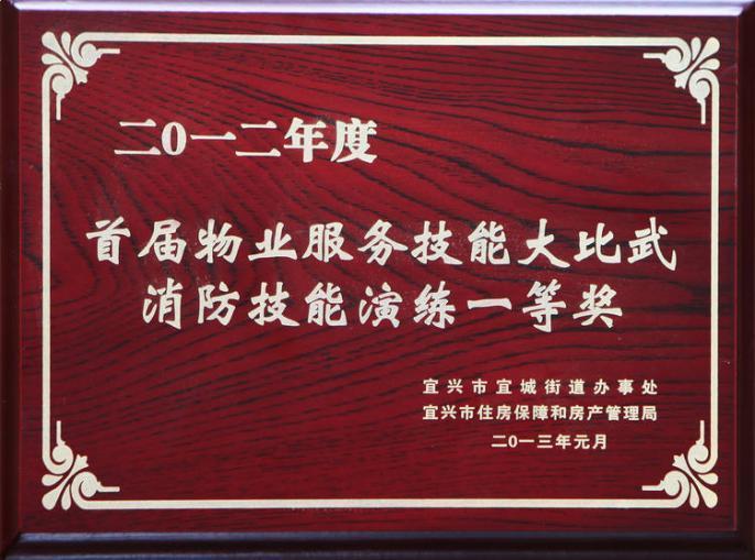 2012年度首届物业技能比武消防技能演练一等奖