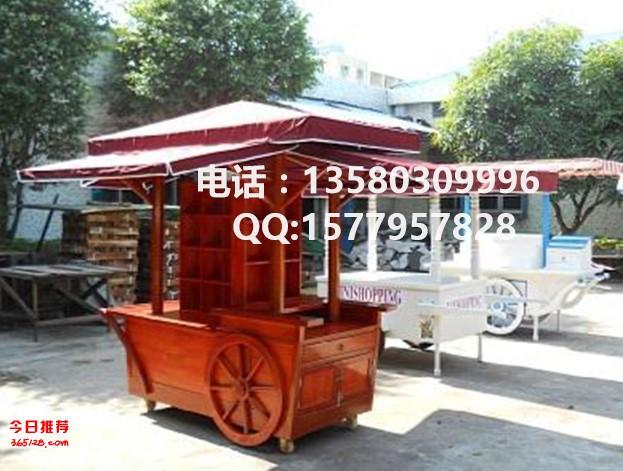 武汉景区广场木制售货车 定做移动售亭子 宜昌手推花车图片