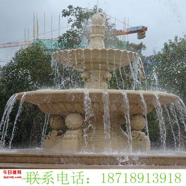 大型砂岩圆盘跌水景观水景喷泉广州砂岩雕塑厂家直销