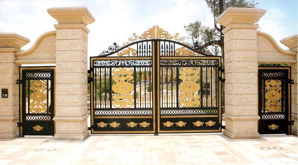 厂家直供欧式铝合金庭院门/铝艺围墙大门/别墅花园铸铝双开防盗门