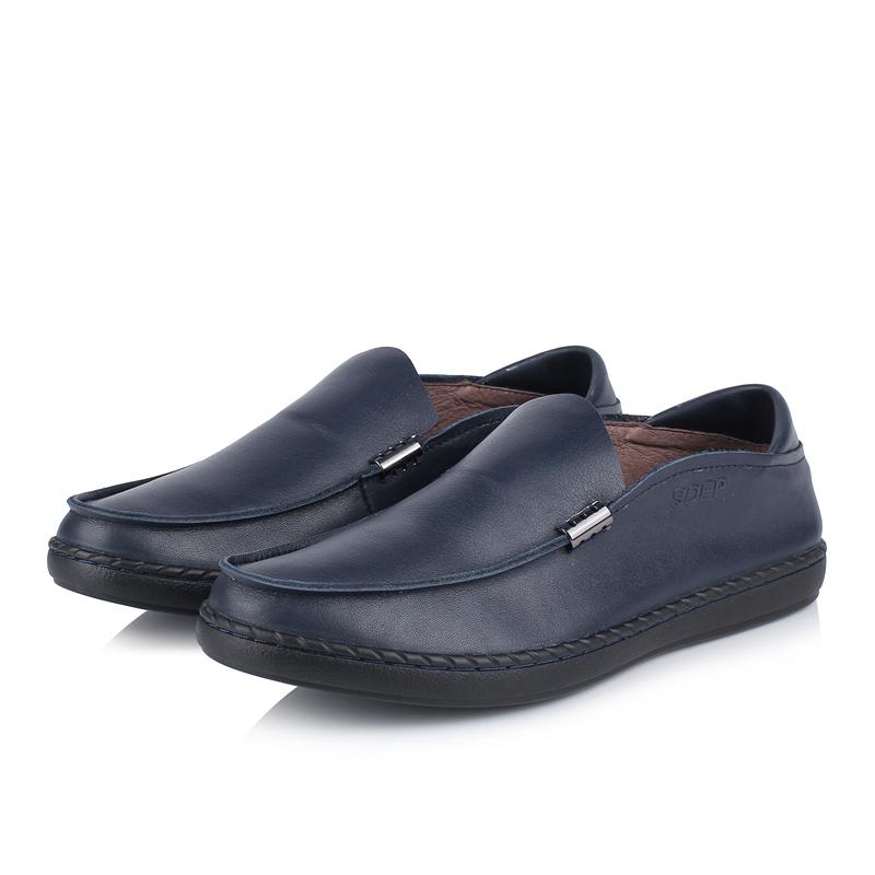 sdep/森达谱 春夏季男士一脚蹬休闲皮鞋真皮英伦软面皮透气懒人鞋