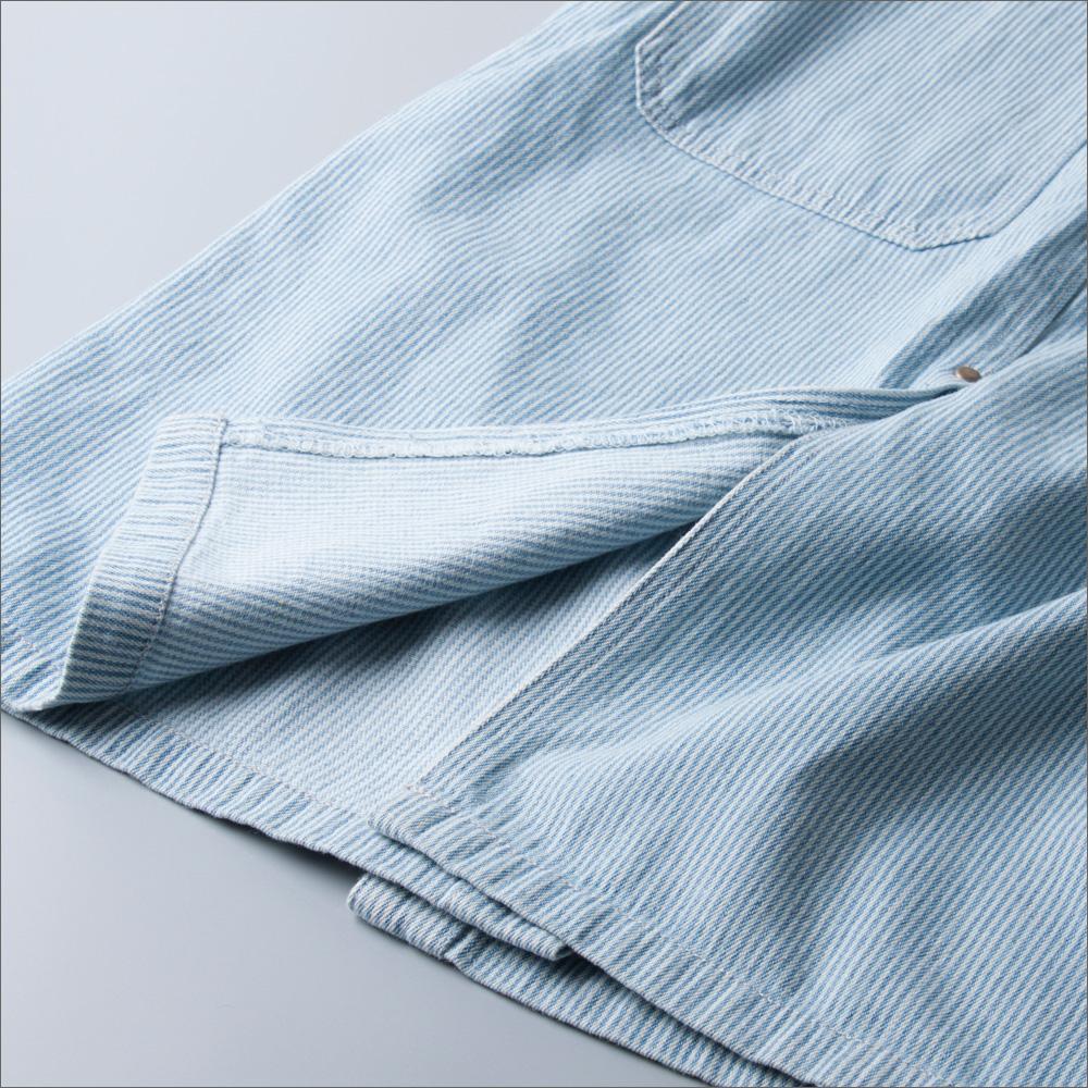 学院风小清新细条纹宽松长款牛仔背带裙