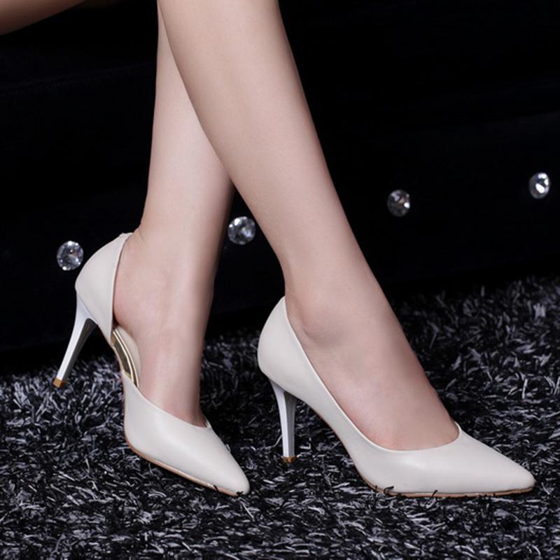 2015春白色高跟鞋软皮女鞋ol浅口尖头高跟鞋细跟中跟瓢鞋侧空