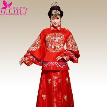 秀禾服新娘礼服中式结婚礼服2015新款红色敬酒嫁衣复古旗袍秀和服